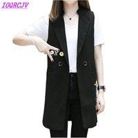 Yelekler Ceket Kadınlar Için Bahar Kolsuz Blazer Uzun Giyim Artı Boyutu Yelek Baskı Hırka Ince Kadın IOQRCJV H336 Tops