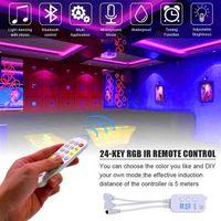 Entrega rápida 5M LED RGB Strips Tape Light Impermeable Music Sync Color Cambiando el controlador Bluetooth 24key Control Remoto Decoración