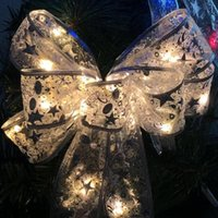 Batterie alimentée à LED arbre de Noël top de topper arc de ruban d'arc de noël arbre de Noël ornement de noël ornement fête suspendue décoration
