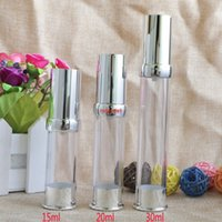 15ml 20ml 30ml Empty Silver Vacuum Refillable Lotion Bottles Airless Pump Sample Bottle Makeup Tools for Travel Set 100pcs lotpls order