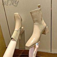 Botas Hoja de metal Tacones Calcetines Mujeres Estirar Tela Elástica Tacón Talón Punto puntiagudo Toe Zapatos Mujer Barcos