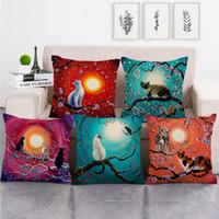 Flores de cerezo Estuche de almohada de impresión Patrón de gato encantador Cojín de moda Cojines de moda Decoración del hogar Nuevo patrón 4 2JW J2