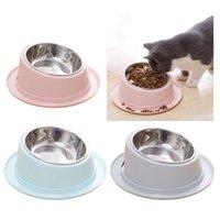 Anti-deslizamento animal de estimação alimentando a taça de aço inoxidável cão alimentador de gato pet comendo beber prato cachorrinho gatinho comida comida tigela