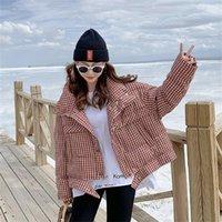 Winter Neue Mode-Stand-up-Kragen-Plaid-Herunterjacke Frauen kurze weiße Duck-Daunenjacke insosen loser Brot-Kleidung-Trend