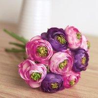 9Heads / Bündel Simulation Künstliche Seide Blumen Ranunculus Romantische Hochzeit / Braut / Zuhause Dekorative Dekor Blume Lange 22cm