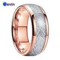 Rose Gold para mujer Hombre Banda de Moda Anillo de tungsteno Banda de cúpula Blanco Meteorito Inlay 6mm 8mm Comfort Fit Y1124