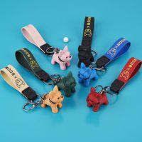6 Renkler Moda Deri Kordon Anahtarlık Sevimli Fransız Bulldog Anahtarlık Hayvan Köpek Anahtarlık Tutucu Çanta Charm Biblo Çantası Aksesuarları