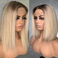 Ombre 613 Rubia 13x6 Frente de encaje Pelucas de cabello humano Resaltado Pelucas de cierre transparente HD preplucidas para mujeres negras Completamente invisible