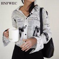 Wkoud Одежда / Новая Мода Длинный Рукав Черный Белый Письмо Газета Принт Свободная Повседневная Рубашка Женская Блузка Z273 201125