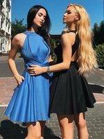 Neue A Line Kurzer Heimkehr Kleider Crew Neck Sleeveless Club Wear Party Abendkleid Backless Cocktailkleider