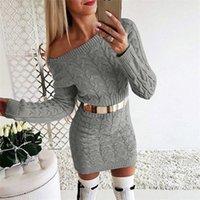 S-XL Kadın Örme Kış Elbise BODYCON Skinny Uzun Kollu Katı Triko Genel Etek Uzun Triko Elbise Parti Casual Bezi LY1117
