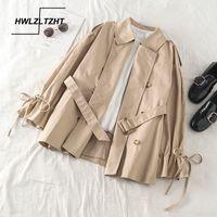Hwlzltzht Coreia Moda Feminina's Roupas Defesa Collar Jaqueta Grandes Tamanhos Para As Mulheres Outono Loose Women's Windbreakers 201029