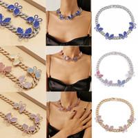 الأزياء العصرية ins مصمم الفاخرة الماس الزركونيا حجر الراين جميلة 3d الفراشات امرأة بيان المختنق قلادة 12 لون