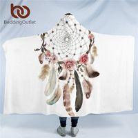 BeddingUtlet bohemian مقنعين بطانية للبالغين ماندالا dreamcatcher شيربا الصوف امرأة رمي بطانية ستوكات 127 سنتيمتر x 152cm 201113