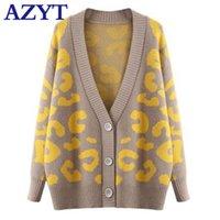 Azyt Kadın Leopar Baskı V Boyun Örgü Kazak Hırka Kore Gevşek Kadın Knitshirt Ceket Sonbahar Rahat Kısa Coat Y200917