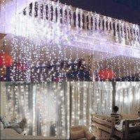 Großhandel 15M x 3M 1500-LED-warmes weißes Licht Romantisches Weihnachten Hochzeit Außendekoration Vorhang-Schnur-Licht US-Standard-Weiß Wärmen