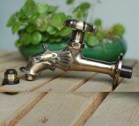 Badezimmer Waschbecken Armaturen im Freien Decorativ Gartenarmatur Tierform Bibck Grüne Bronze Dragon Tap zum Waschen Mopp / Gartenbewässerung