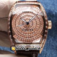 TWF جديد V2 الإصدار Grand Cintree Cutvex Gypsophila Diamond 8880 التلقائي رجالي ووتش روز الذهب الكامل الماس البني الجلود hello_watch