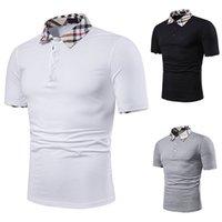 2020 Polo d'été Chemise Men's Marque Vêtements Coton Coton Sleeve Business Casual Plaid Designer Homme Camisa Respirant Plus Taille