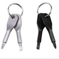 2020 Schraubendreher Schlüsselanhänger Außentasche 2 Farben Mini-Schraubendreher-Set Schlüsselring mit Schlitz Phillips Hand Schlüsselanhänger