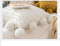 مقعد الأزهار الشرابة وسادة غطاء مع pompom الأصفر الرمادي الأبيض الزخرفية غطاء وسادة ديكور المنزل رمي وسادة القضية 45x45 سنتيمتر cca2677