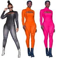 Frauen Overalls Strampler 2021 Hohe elastische Frauen Jumpsuit Langarm offen Zurück Reißverschluss Sport Bodysuits Streetwear Großhandel Dropshppin