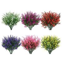 6 Piezas Artificiales Lavanda Flores Plantas Plantas De Vida Lifelike Arbustos Falsos Arbustos Verdería Bouquet De Plastico Jardín De Patio Decoración