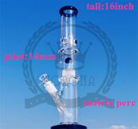 """Corona Factory Couleur Microscope Verre Bong Purple Formulaire 16 """"Pouces d'eau en verre avec Rocket Perc et UFO PERC 18.8MM Joint"""