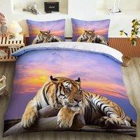 Set di biancheria da letto Animale 3D Lion e Tiger Set di custom Set Copertura con cuscinetto con cuscini di lusso Microfiber Copriletto tessili per la casa