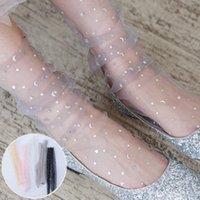 Women Shiny Star Mesh Socks Fashion Soft Transparent Elastic Short Female Solid Color Cute Five-pointed Printed