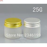 25g 25 ml Plastik Frost Kavanoz Alüminyum Kapak Ile Altın Gümüş Renk, PET Kozmetik Konteyner Krem Kavanoz, 50 adet / lotgoods