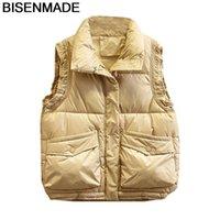 BisenMade негабаритные женские жилеты зима теплые новые 2020 свободные хлопковые пальто без рукавов мягкая куртка