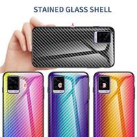 Caja de vidrio templado de fibra de carbono Soft TPU Edge para iPhone 12 Mini 11 Pro Max X XS XR SE2 7 Plus 8 6 6S SE 5 5S Tapa de teléfono degradado Lujo