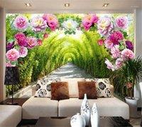 Народная роспись пользовательских фото обои 3D фрески цветочные двери галерея набережной росписи диван фон стены Papel de Parede 3D обои1