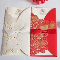 Invitación de boda 2021 Estilo europeo Invitaciones de boda creativas personalizadas personalizada blanca / rojo / oro invitación hueca en blanco