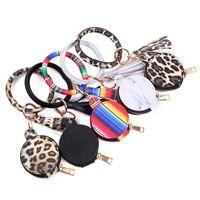 Sunflower Bracelet Coin Purse PU Leather Tassel Keychain Bracelet Case for Earphone with Makeup Mirror Wristlet Card holder GWB4406