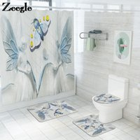 Badematten Einfache Vintage Matte für Badezimmer Memory Foam U-förmig und Duschvorhang Set mit Haken Absorbierende WC-Teppiche