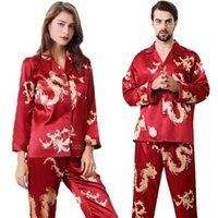 Женщины Silk Satin Pajamas Набор 2 шт. Полный рукав Топ Брюки Китайский стиль Новый год Дракон Печать Лонга Мужчины Пара Пижама PJS 201027