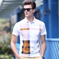Polos de los hombres 2021 camisa de los hombres de la marca de algodón manga corta hombres clásico plaid moda verano turn-down collar polos1