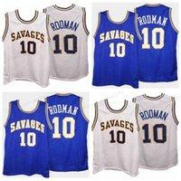 العرف الرجعية دينيس رودرمان # 10 كلية كرة السلة جيرسي الرجال مخيط أبيض أزرق أي حجم 2xs-5xl الاسم والعدد