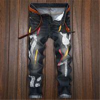 Erkek kot pantolon şövalye hiphop denim ince yırtık baskılı kişilik erkek tasarım moda eski sokak giyim pantolon