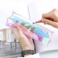 Niedlich-Bleistift-Kasten für Mädchen Kawaii PVC-Feder-Briefpapier-Beutel Büro Schulbedarf Zakka Escolar Transparent Glitter