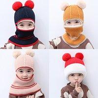 Niña niño bebé bufanda felpa niños invierno mantén cálido lana sombrero niños moda moda bola de pelo engrosamiento de la beanie de alta calidad 13 5hm F2