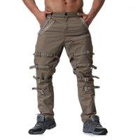 Męskie spodnie 2021 Devil Fashion Punk męska dekoracja zamki błyskawiczne proste steampunk gotycki kombinezony spodnie mężczyzna casual bawełna W2701