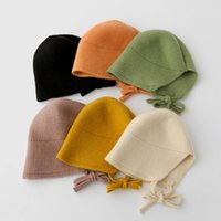 Örme Bebek Şapka Prenses Sonbahar Kış Çocuklar Kız Bonnet Şapka Katı Renk Bağlama Sıcak Kulak Çocuk Yürüyor Kap Bebek Aksesuarları