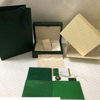 Neueste Stil Freies Verschiffen Grüne Uhr Original Box Papiere Karten Geldbörse Geschenk Holz Boxen Handtasche für 116610 116660 116710 Uhren Fall