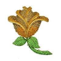 Regali Festa all'ingrosso regalo delle donne del rifornimento Grande Gioielli Yellow Rose Spilla Pin del fiore femminile di moda di strass Valentino