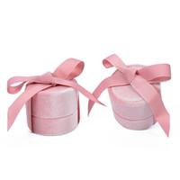 Samt Runde Bowknot Schmuck Geschenkbox für Hochzeit Verlobungsring Ohrringe Halskette Anhänger Verpackung Display Case EEF3540