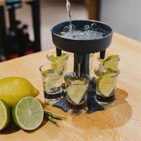 Ayrılabilir bira dağıtıcı likör distribütörü 6 atış cam dispenserler ve tutucu bölücü dökün şarap içecek şarapları set yeni 15jk k2
