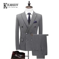 KOLMAKOV Men's Three-piece Suit Double-breasted Fashion Striped Formal Dress For Business Career Male Size S-5XL